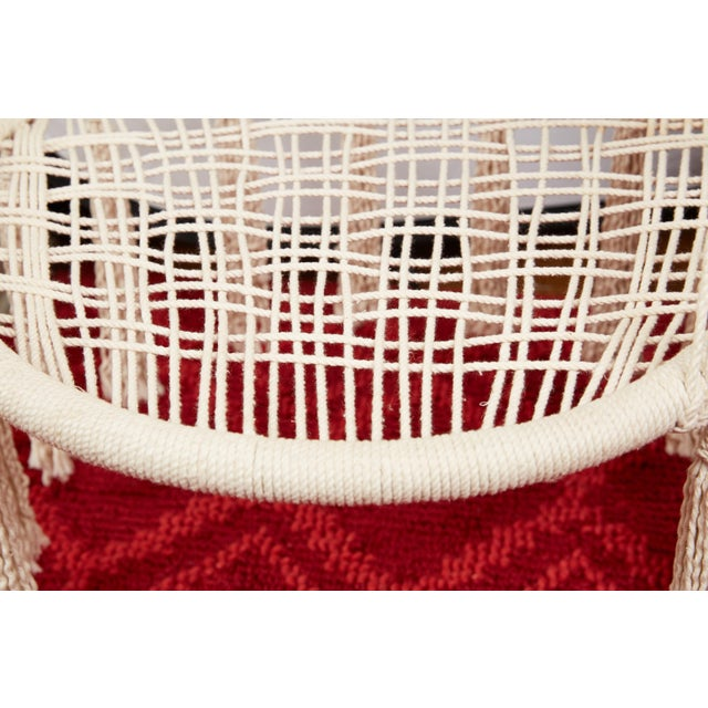 Vintage Boho Chic Macrame Hanging Chair For Sale - Image 9 of 13