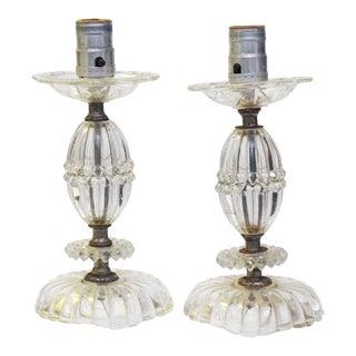 Antique Glass Lamps - a Pair For Sale