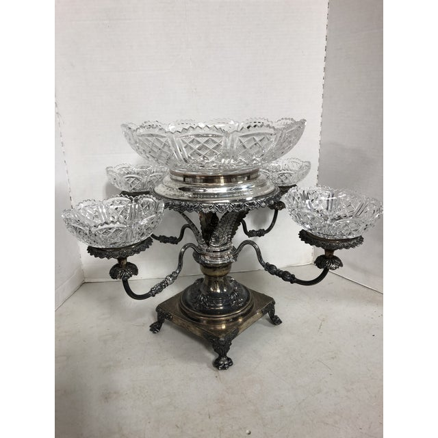 Vintage Crystal and Silver Plate Epergne For Sale - Image 13 of 13