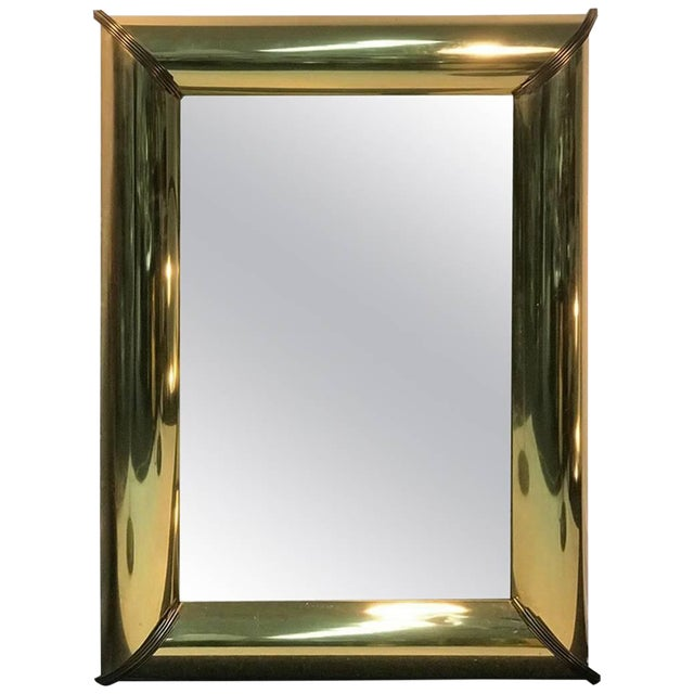 Mirror With Brass Trim and Bold Moldings in the Style of Mastercraft For Sale