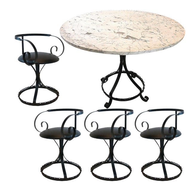 Marble-Top Chain Link Garden Patio Set in the Manner of George Mulhauser For Sale