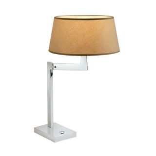 Chrome Swing Desk Lamp with Shade For Sale