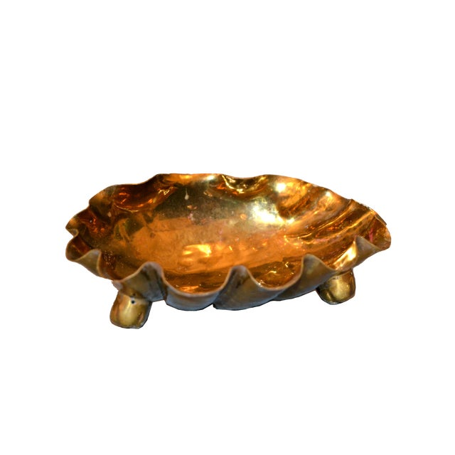 Italian Golden Hand-Hammered Bronze Clam Footed Catchall Bowl, Italy For Sale