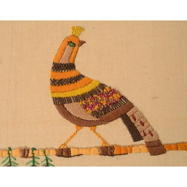 Mid Century Three Birds Crewel Embroidery Wall Hanging For Sale - Image 4 of 13