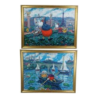 Vintage Redman & Lady Dot D. Meadows Impressionist Landscapes Paintings - Set of 2 For Sale
