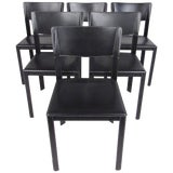 Image of Set of Italian Modern Leather Dining Room Chairs For Sale