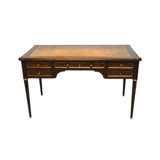 Baker Directoire Style Leather Top Writing Desk Library Table W. Trays