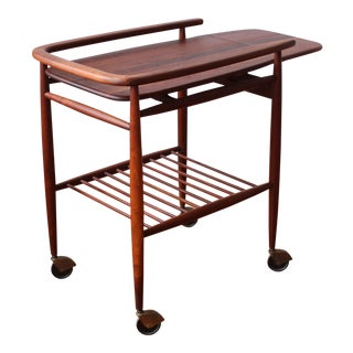 "1950s Scandinavian Restored ""Boomerang"" Solid Walnut Bar Cart For Sale"