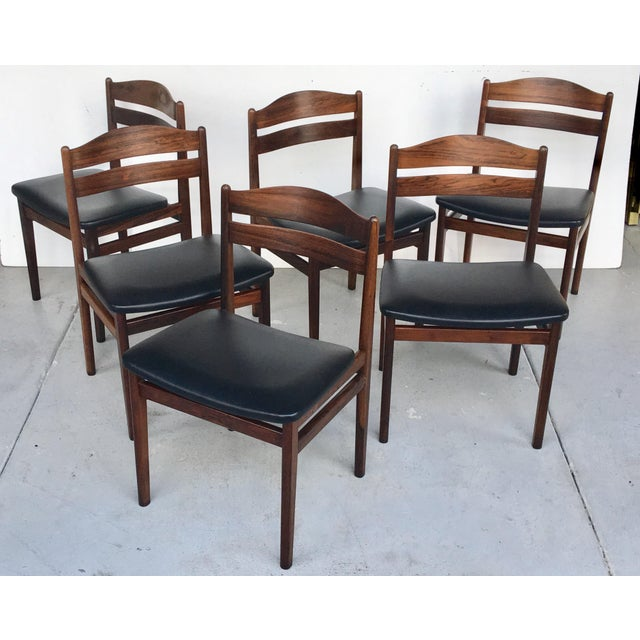 Danish Modern Rosewood Dining Chairs - Set of 6 - Image 2 of 8