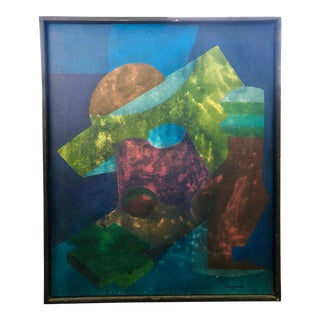 Vintage Mid-Century Hw Conrad Abstract Signed & Framed Oil Painting For Sale