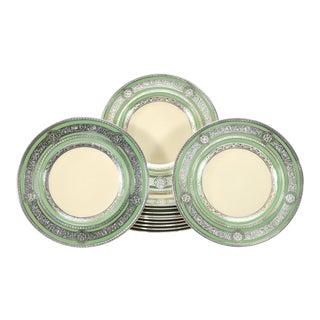 12 Morgan Belleek Sterling Silver Overlay Dinner or Service Plates For Sale