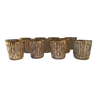 Mid-Century Modern Hollywood Regency Imperial 24k Gold Bamboo Low Ball Cocktail Glasses - Set of 12 For Sale