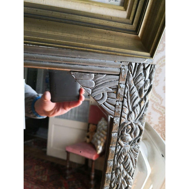 Antique French Art Deco Carved Wood Distressed Silver Wall Mirror C1920's For Sale - Image 9 of 10