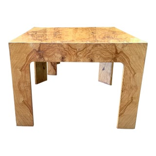 Mid Century Burl Wood Baughman Parsons Side Table For Sale