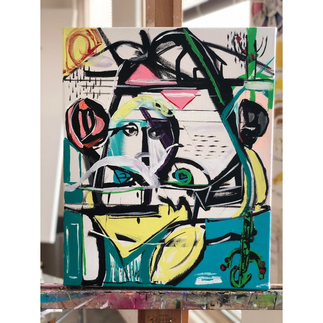Yellow Jj Justice Contemporary Abstract Portrait Painting For Sale - Image 8 of 10