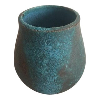 Boho Chic MANA Ceramics Teal Pottery Bud-Vase For Sale