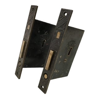Antique Victorian Pocket Door Mortise Lock Boxes - a Pair For Sale