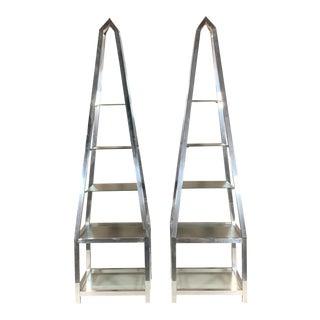 Vintage Aluminum Obelisk Etageres - a Pair For Sale