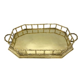 1950s Mid Century Brass Bamboo Octogon Tray For Sale