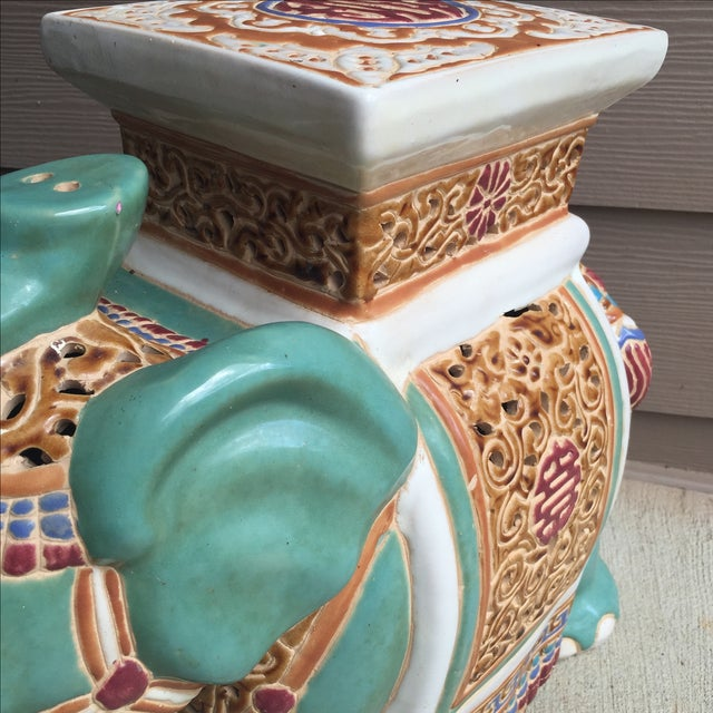 Asian Chinoiserie Elephant Garden Stool For Sale - Image 3 of 8