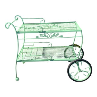 1960s Vintage Shabby Chic Green Wrought Iron Garden Patio Cart For Sale