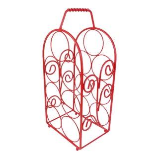 Modern Brass Wine Bottle Rack in Red