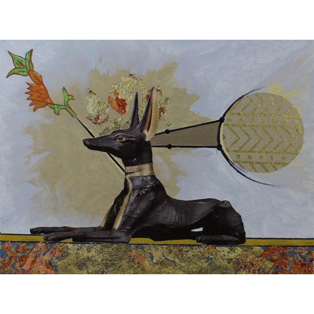 "Carl M. George ""Anubis"" Original Collage Painting - Image 3 of 4"