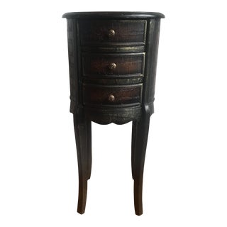 Faux Alligator & Wood Tall 3 Drawer Accent Table