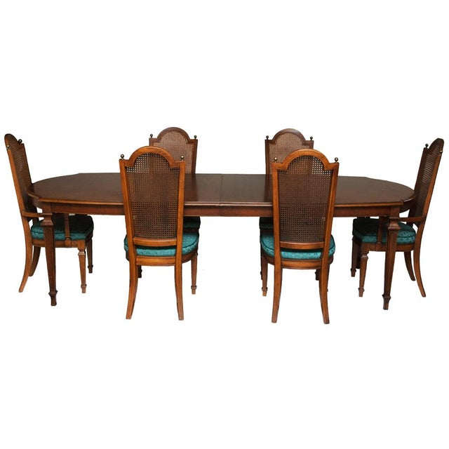 American Classical C. 1960s Vintage Hepplewhite Dining Table & Chairs- 7 Pieces For Sale - Image 3 of 13