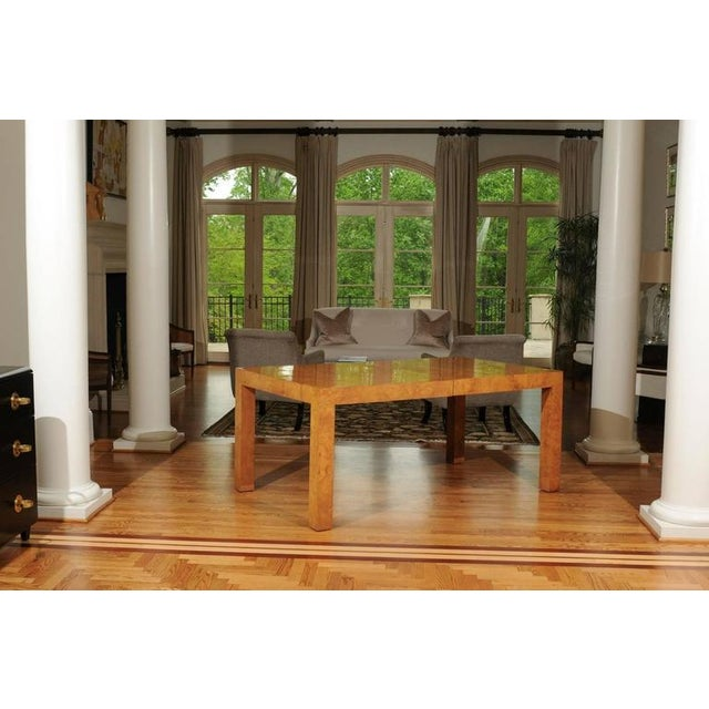 1970s Outstanding Extension Dining or Conference Table in Bookmatched Olivewood For Sale - Image 5 of 10