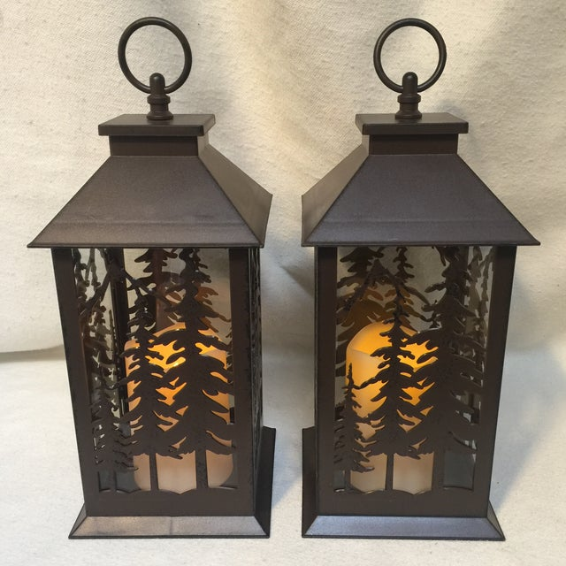Metal & Glass Forest Silhouette Lanterns - A Pair - Image 3 of 10