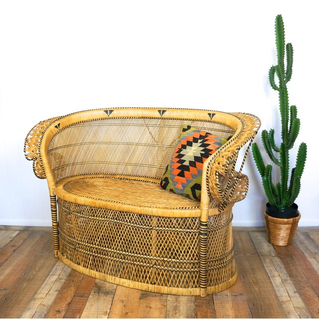 """Boho Chic 1970s """"Peacock Chair"""" Loveseat For Sale - Image 3 of 7"""