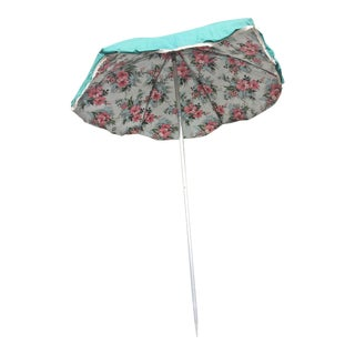 Vintage Mid Century Green Vinyl Umbrella with Floral Accent