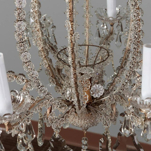 1900s Italian Chandeliers With Round Beads and Original Beaded Canopies - a Pair For Sale - Image 5 of 12