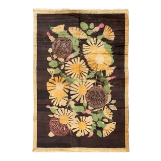 Antique French Art Deco Floral Rug - 6′6″ × 9′10″ For Sale