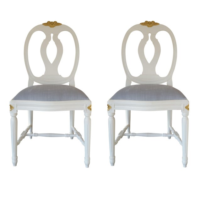 Carved Rose Gustavian Chairs With Gold - Pair For Sale - Image 11 of 11