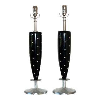Vintage Rhinestone Table Lamps Black For Sale