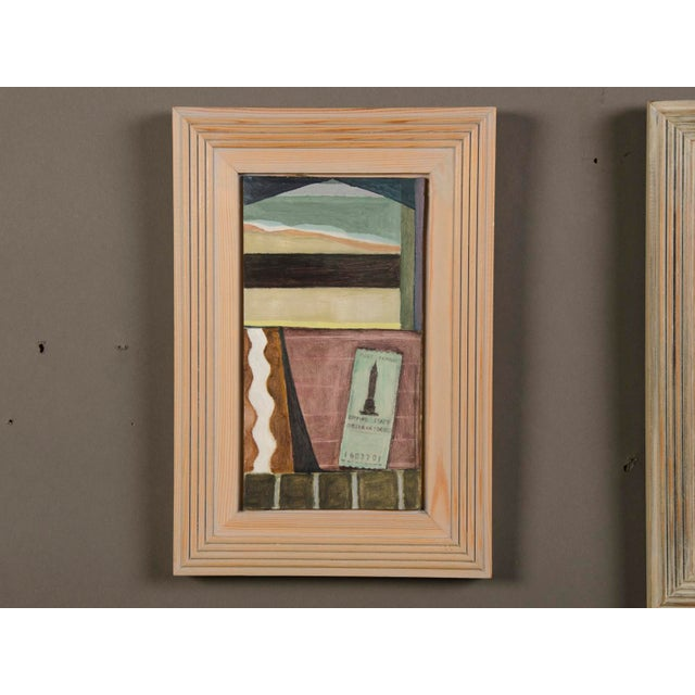 """""""Green Ticket"""" by Helen Napper, an original oil on board dated 1999 with the original frame. This modernist painting is..."""