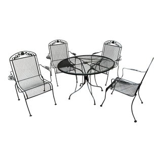 Mid-Century Modern Wrought Iron Dining Set - 5 Pieces For Sale