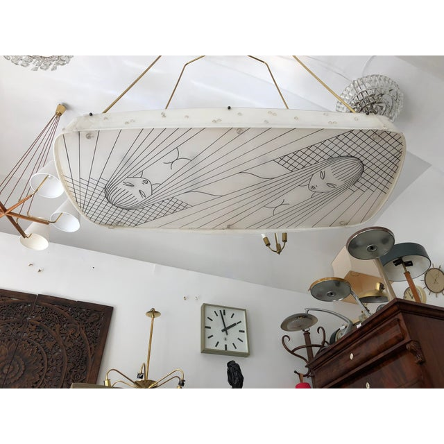 Beautiful Midcentury Chandelier With Handmade Shades For Sale - Image 10 of 12