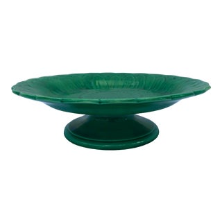 Antique English Majolica Green Sunflower Compote, Pedestal Dish, C. 1870 For Sale
