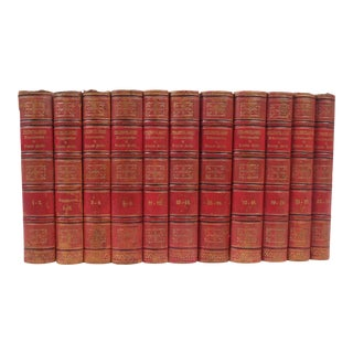 Scandinavian Leather Bound Books S/11 For Sale