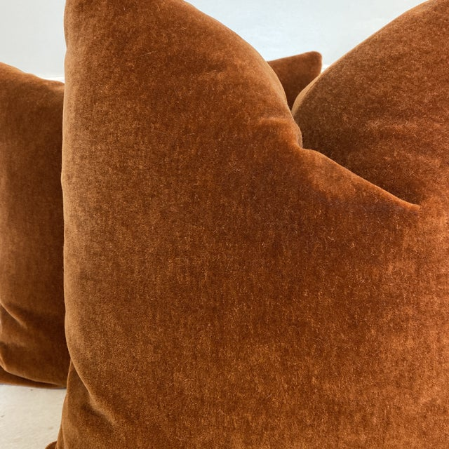 "Textile Mohair Velvet in Spice 22"" Pillows-A Pair For Sale - Image 7 of 8"