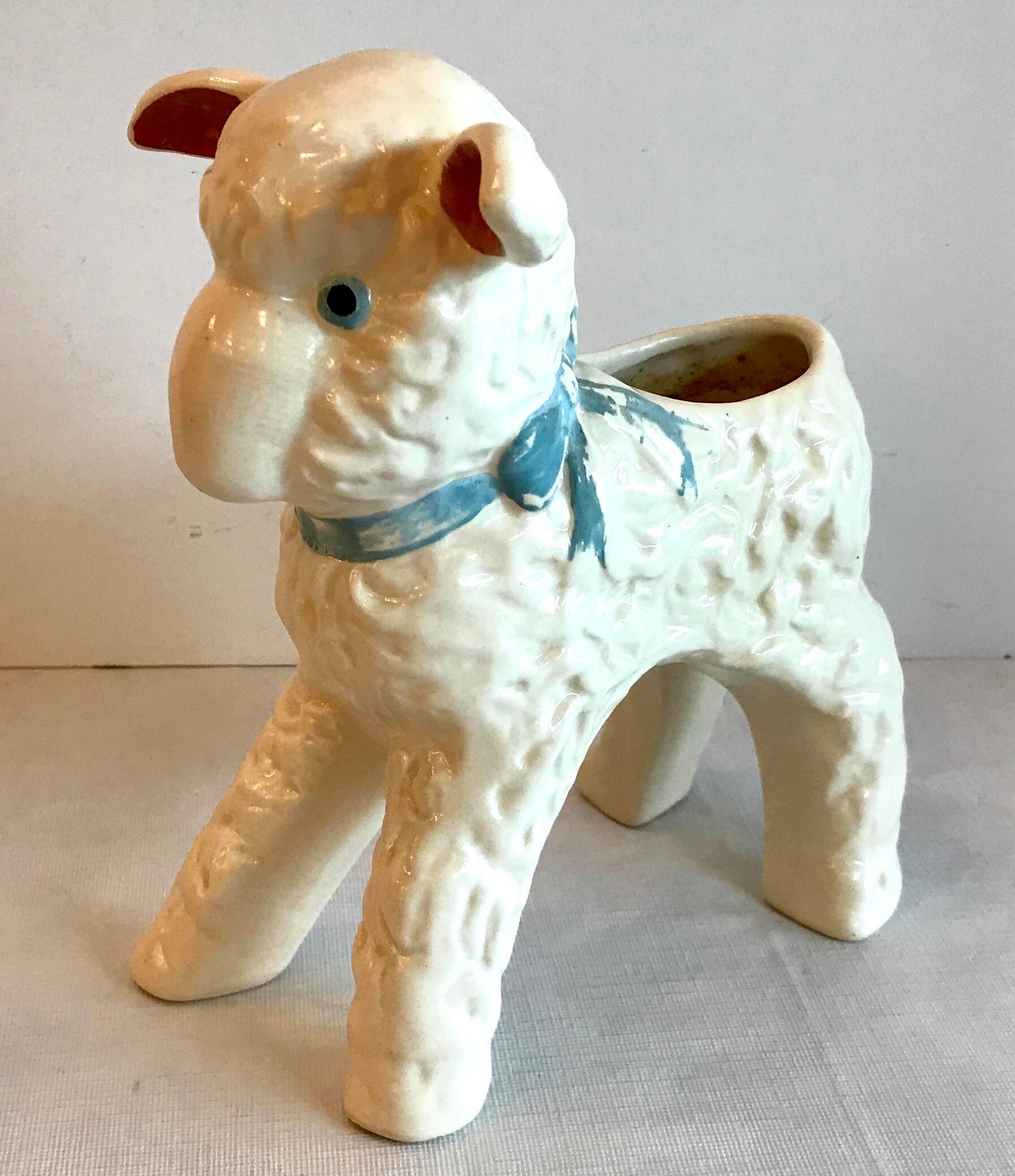 Vintage ceramic hand painted lamb indoor planter.