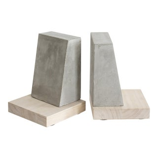 Modern Pacifica Cement & Wood Bookends - a Pair