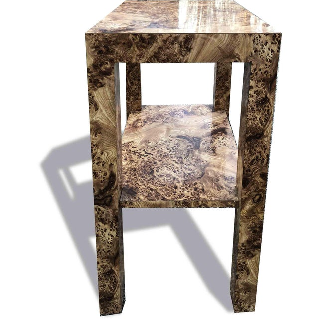 A vintage 1970s Milo Baughman Style entry, foyer, hall, or telephone table. Burl wood Effect laminate all over. Great rich...