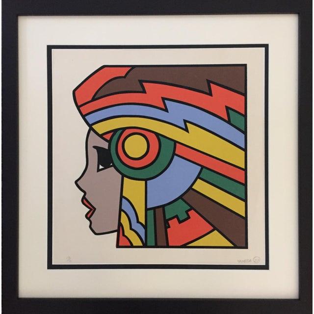 "Boho Chic 1977 Graphic Silkscreen Signed Yamada ""Girl With Headdress"" For Sale - Image 3 of 8"
