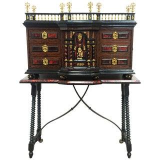 Original Italian Cabinet on Stand, Baroque Bargueno For Sale