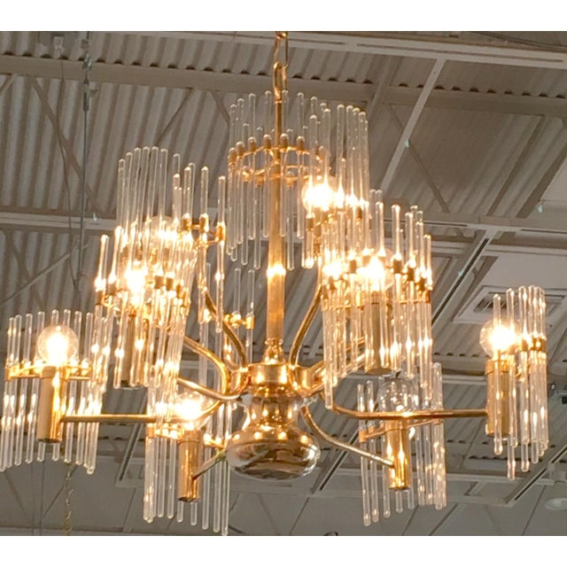 Sciolari Crystal Rod and Brass Chandelier - Image 4 of 7