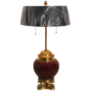Louis XVI Style Bronze Bouillotte Lamp With Sang De Boeuf Vase, France For Sale